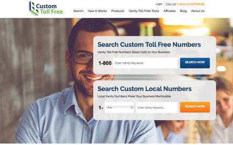 Screenshot of Home Page customtollfree.com - Vanity Numbers & Toll Free Numbers from Custom Toll Free - captured July 23, 2018