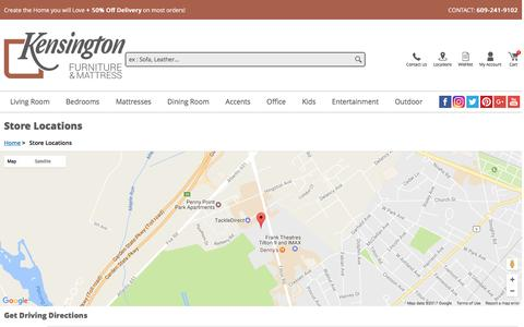 Screenshot of Locations Page kensingtonfurniture.com - Kensington Furniture Directions - captured May 4, 2017