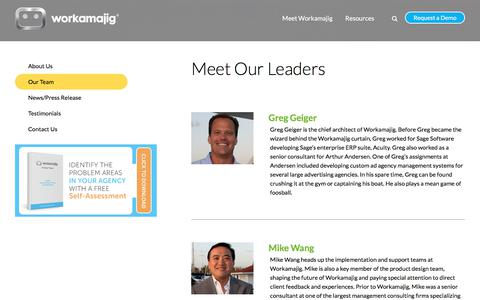 Screenshot of Team Page workamajig.com - Meet the Workamajig Team Leaders - captured March 17, 2018