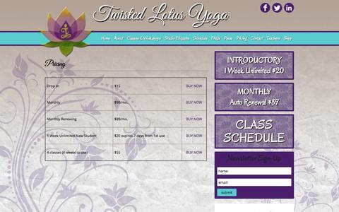Screenshot of Pricing Page twistedlotusyoga.com - Pricing | Twisted Lotus Yoga - captured Oct. 7, 2014