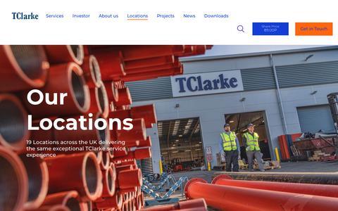 Screenshot of Locations Page tclarke.co.uk - Locations - TClarke : TClarke - captured Dec. 10, 2018