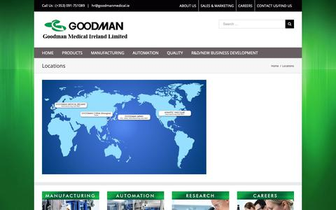 Screenshot of Locations Page goodmanmedical.ie - Locations | Goodman Medical Ireland Ltd - captured Nov. 11, 2018