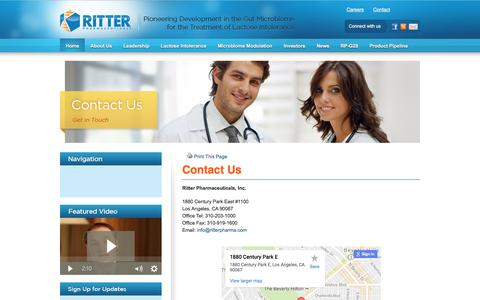 Screenshot of Contact Page ritterpharmaceuticals.com - Ritter Pharmaceuticals, Leading Lactose Intolerance Researchers, Contact | Ritter Pharmaceuticals - captured Dec. 1, 2016