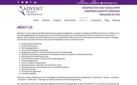 Screenshot of About Page adventpm.co.uk - About Project Management Services | Advent PM - captured Feb. 4, 2016