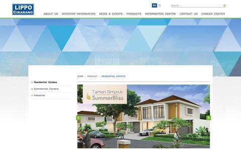 Screenshot of Products Page lippo-cikarang.com - Residential Estates | Lippo Cikarang - captured Oct. 1, 2014