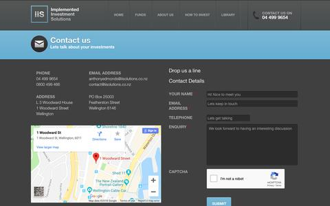 Screenshot of Contact Page iisolutions.co.nz - Contact Us - Implemented Invesment Solutions - captured Oct. 11, 2018