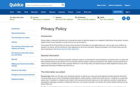 Screenshot of Privacy Page quidco.com - Quidco - The UK's #1 Cashback Site - captured Nov. 23, 2017