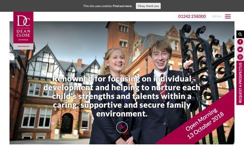 Screenshot of Home Page deanclose.org.uk - Dean Close School | Co-educational School, Cheltenham - captured Oct. 8, 2018