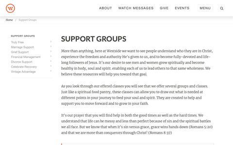 Screenshot of Support Page westsidechurch.org - Westside Church in Bend, Oregon | Life. Love. Jesus. - captured Jan. 27, 2019