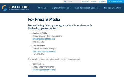 Screenshot of Press Page zerotothree.org - For Press & Media • ZERO TO THREE - captured Aug. 22, 2016