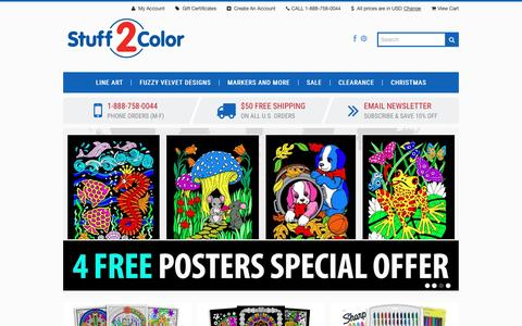 Screenshot of Home Page stuff2color.com - Fuzzy Velvet Posters To Color & Giant Line Art Posters | Stuff2Color - captured Dec. 17, 2016