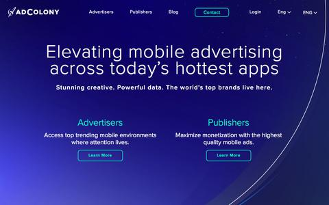 Screenshot of Home Page adcolony.com - AdColony - Elevating mobile advertising across today's hottest apps - captured Sept. 10, 2019