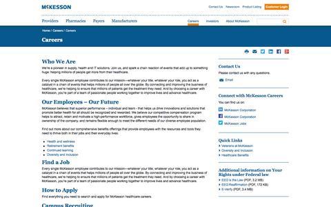 Screenshot of Jobs Page mckesson.com - Careers | McKesson - captured Oct. 22, 2014