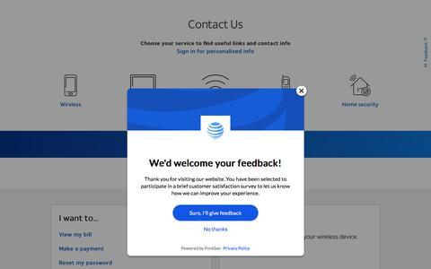 Screenshot of Contact Page att.com - AT&T - Get More Help - captured Oct. 12, 2019
