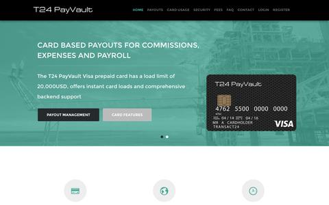 Screenshot of Home Page t24payvault.com - T24 Payvault - T24 PayVault Visa Prepaid Card – Corporate Prepaid Cards, Prepaid Payroll Cards and Prepaid Payout Cards - captured March 8, 2016