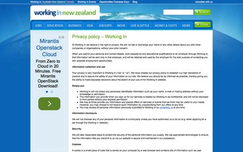 Screenshot of Privacy Page workingin-newzealand.com - Privacy policy - Working In | Working In New Zealand - captured Sept. 22, 2015