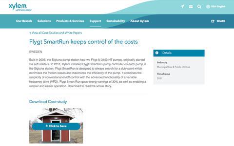 Screenshot of Case Studies Page xylem.com - Case Study: Flygt SmartRun keeps control of the costs   Xylem US - captured Nov. 9, 2019