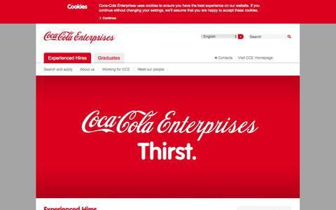 Screenshot of Jobs Page cokecce.com - Experienced Hires |              Coca-Cola Enterprises Careers - captured Sept. 25, 2014