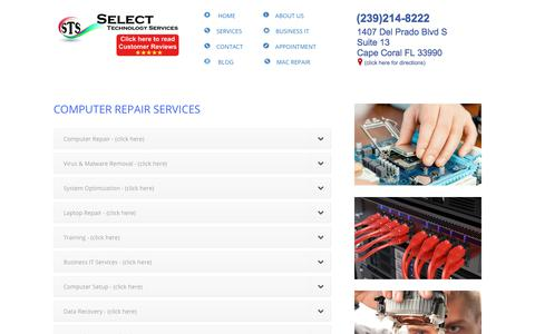 Screenshot of Services Page stsforyou.com - Computer Repair Cape Coral FL - Repairing Computers for over 20 years - captured Aug. 16, 2019