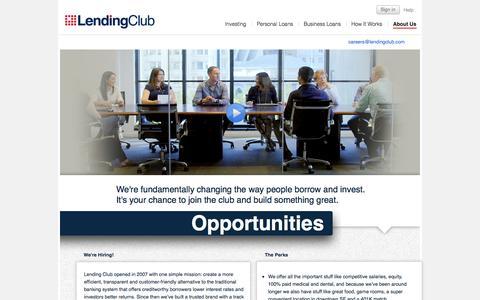 Screenshot of Jobs Page lendingclub.com - Careers - Lending Club - captured Sept. 18, 2014