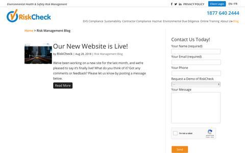 Screenshot of Blog riskcheckinc.com - Risk Management Blog | RiskCheck - captured Oct. 20, 2018