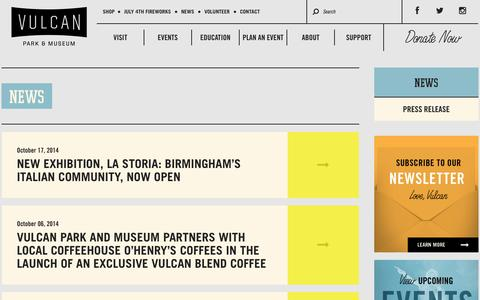Screenshot of Press Page visitvulcan.com - News | Vulcan Park & Museum: Birmingham, AL - captured Oct. 26, 2014