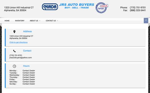 Screenshot of Hours Page jrsautobuyers.com - Hours of Operation | JRS Auto Buyers | Used Cars For Sale - Alpharetta, GA - captured June 8, 2017