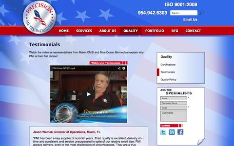 Screenshot of Testimonials Page pmiquality.com - Testimonials | Precision Metal Industries - captured Oct. 2, 2014