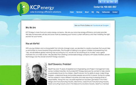 Screenshot of About Page kcpenergy.com - KCP Energy :: About – We're your one stop energy efficiency and solar provider in Calgary, Canmore, Banff and area. - captured Sept. 30, 2014