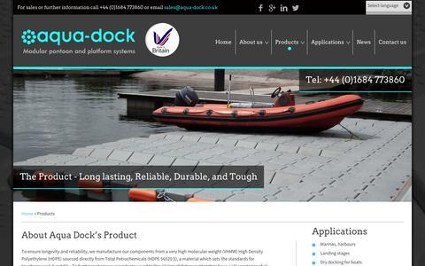 Screenshot of Products Page aqua-dock.co.uk - Floating Pontoons to Mobile Work Platforms - Pontoon Manufacturers , UK - captured Oct. 4, 2014
