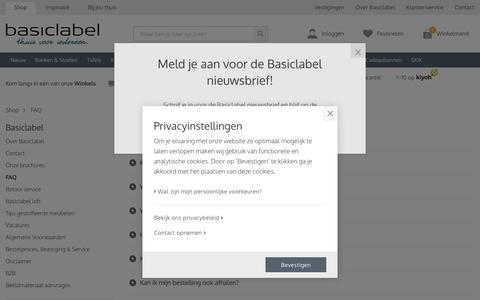 Screenshot of FAQ Page basiclabel.nl - Veel gestelde vragen -  Basiclabel - captured Sept. 26, 2018