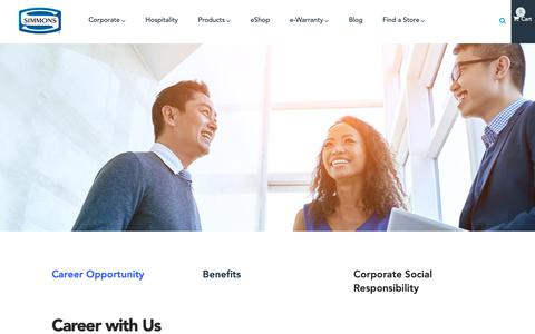 Screenshot of Jobs Page simmons.com.sg - Careers with us - Simmons | Simmons - captured Oct. 19, 2018