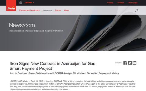 Screenshot of Press Page itron.com - Newsroom - captured Sept. 19, 2018