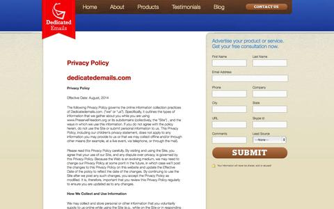 Screenshot of Privacy Page dedicatedemails.com - Privacy Policy | Dedicated Emails - captured Sept. 19, 2014