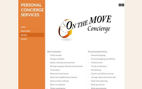 Screenshot of Services Page onthemoveconcierge.com - Services - personal concierge services - captured Sept. 30, 2014