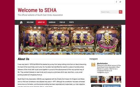 Screenshot of About Page seha.org.uk - About SEHA | South East Hindu Association | London | Woolwich | Welcome to SEHA - captured Aug. 15, 2015