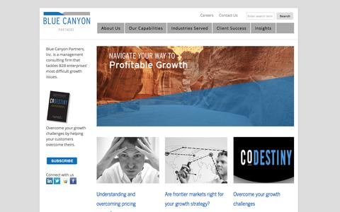 Screenshot of Home Page bluecanyonpartners.com - A B2B growth strategy consulting firm - captured Feb. 7, 2016