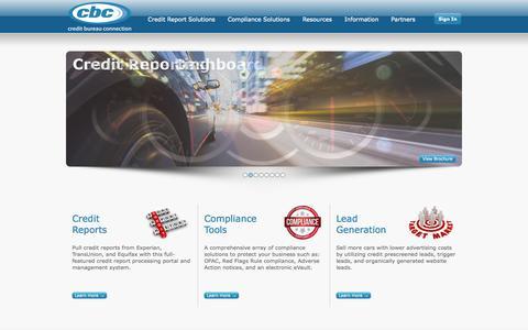 Screenshot of Home Page creditbureauconnection.com - eCredit & Compliance Solutions | Credit Bureau Connection - captured Oct. 1, 2014