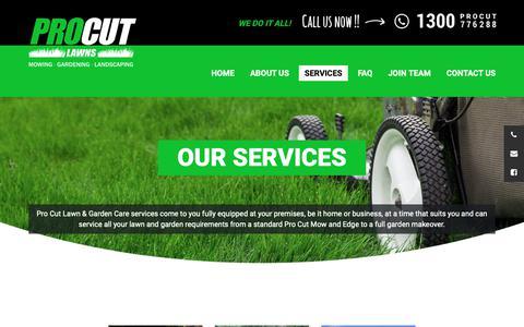 Screenshot of Services Page procutlawns.com.au - Pro Cut  Services | Lawn Mowing | PRO CUT LAWNS - captured Oct. 21, 2018