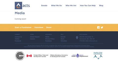 Screenshot of Press Page acts.ca - ACTS.ca     Media - captured Nov. 2, 2014