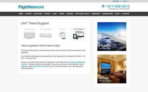 Screenshot of Hours Page flightnetwork.com - Travel Support - FlightNetwork.com - captured Jan. 13, 2016