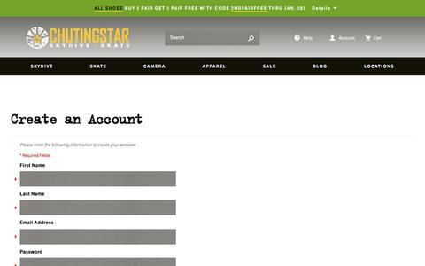 Screenshot of Signup Page chutingstar.com - Create New Customer Account - captured Jan. 16, 2016