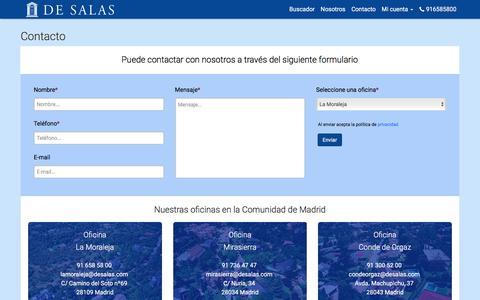 Screenshot of Contact Page desalas.com - De Salas   Contacto - captured Nov. 23, 2016