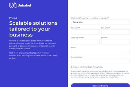 Screenshot of Pricing Page unbabel.com - Pricing | Get a Quote | Unbabel - captured Feb. 5, 2019