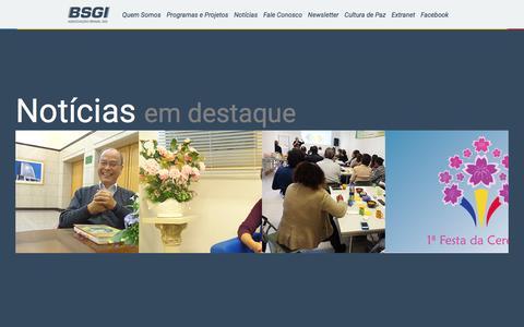 Screenshot of Home Page bsgi.org.br - BSGI - Brasil Soka Gakkai Internacional - captured June 21, 2016