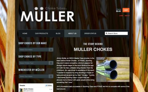 Screenshot of About Page mullerchokes.com - Muller Chokes — About Us - captured Oct. 9, 2014