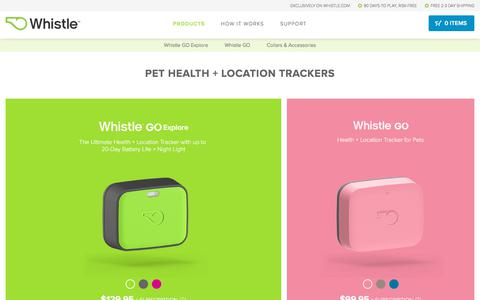 Screenshot of Products Page whistle.com - Whistle GPS Pet Tracker and Activity Monitor for Pets | Whistle Store - captured July 25, 2019