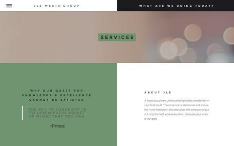 Screenshot of Services Page jlemediagroup.com - Services    JLE Media Group - captured Nov. 18, 2016
