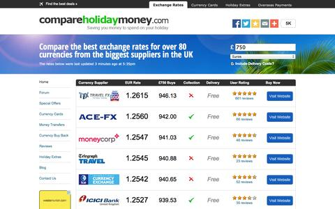 Screenshot of Home Page compareholidaymoney.com - Compare Current Exchange Rates - Best Currency Exchange Rates Today - captured Sept. 24, 2014