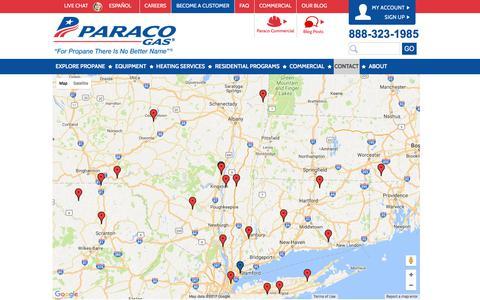 Screenshot of Locations Page paracogas.com - Paraco Gas Locations | Paraco Gas - captured July 14, 2017